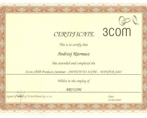 Certyfikat 3COM SMB Products Seminar