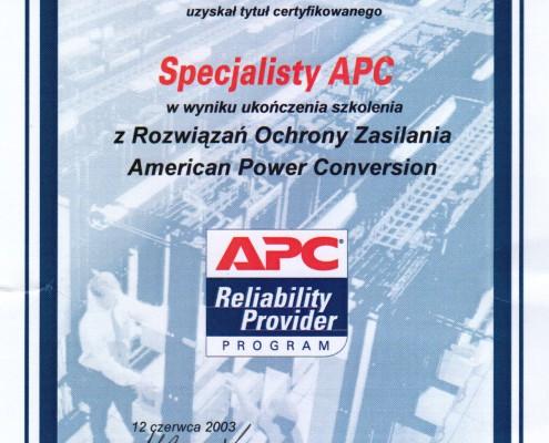 Certyfikat Specjalisty APC