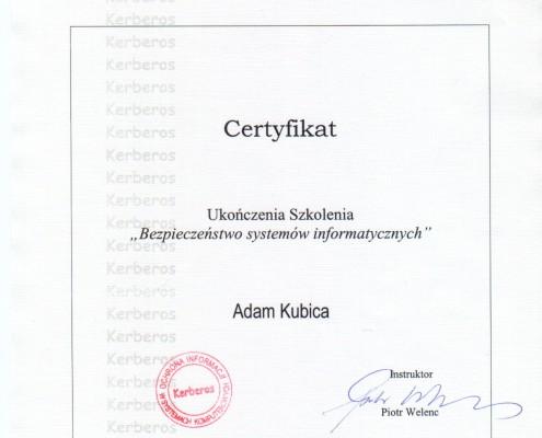 Certyfikat Bezpieczeństwo Systemów Informatycznych