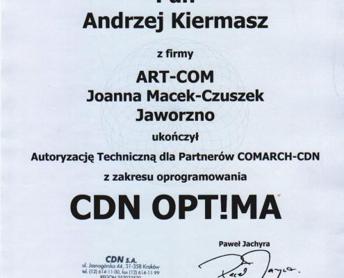 Certyfikat z zakresu oprogramowania CDN OPT!MA