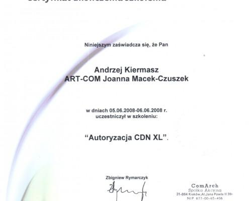 Certyfikat nr 3 z zakresu Autoryzacja CDN XL