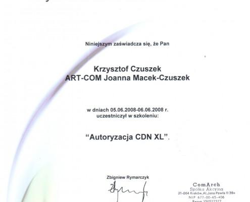 Certyfikat nr 2 z zakresu Autoryzacja CDN XL