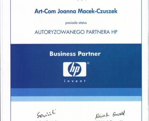 CErtyfikat Autoryzowanego PArtnera HP