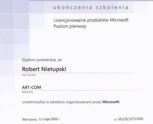 Dyplom ukończenia szkolenia z licencjonowania Microsoft