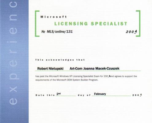 Certyfikat Microsoft Licensing Specialist