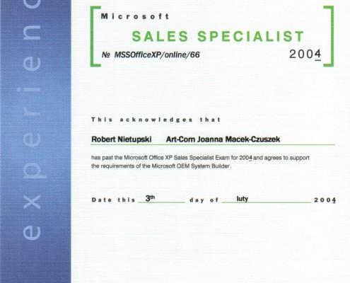 Certyfikat Microsoft Sale Specialist