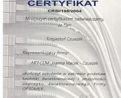 Certyfikat Podstaw Techniki Światłowodowej Optometr