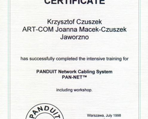 Certyfikat nr 2 PANDUIT Network Cabling System PAN-NET