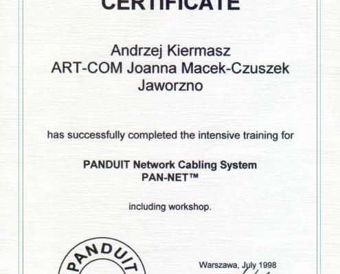 Certyfikat nr 1 PANDUIT Network Cabling System PAN-NET