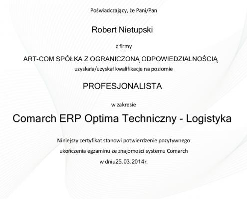 Certyfikat w zakresie Comarch ERP Optima Techniczny - Logistyka
