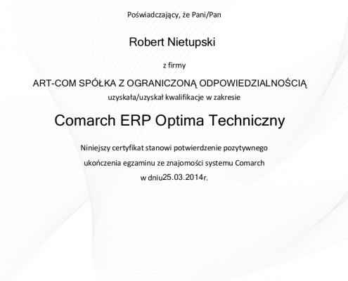 Certyfikat w zakresie Comarch ERP Optima Techniczny