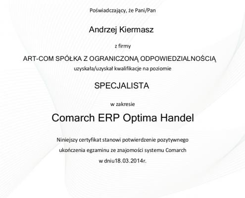 Certyfikat w zakresie Comarch ERP Optima Handel