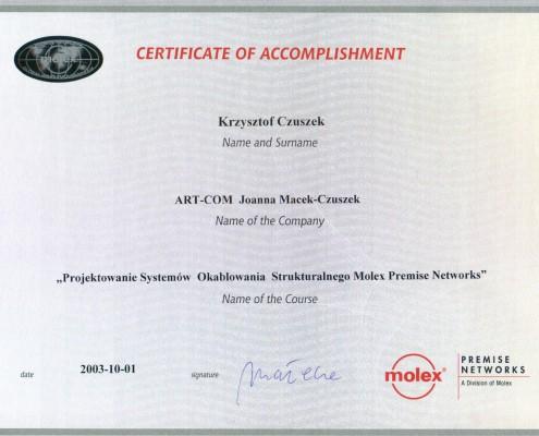 Certyfikat Molex Premise Networks