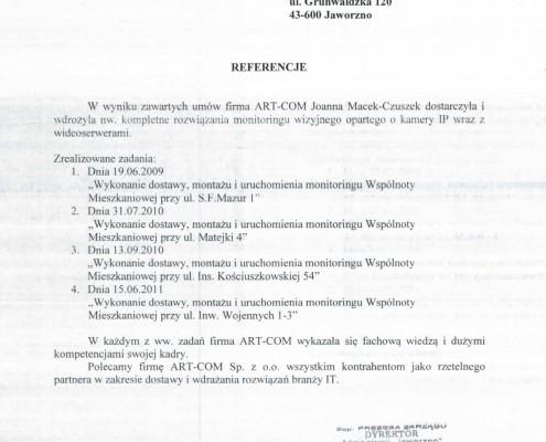 Referencje otrzymane od firmy Gwarek Sp. z o.o.
