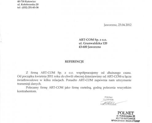 Referencje of firmy POLNet Katowice