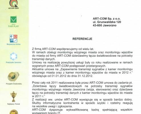 Referencje otrzymane od Urzędu Miasta w Jaworznie
