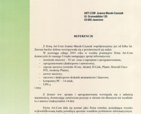 Referencje otrzymane od Prezydenta Miasta Jaworzna