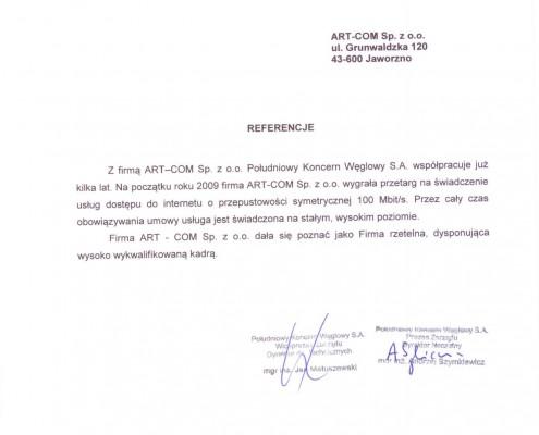 Referencje otrzymane od Firmy PKW S.A.