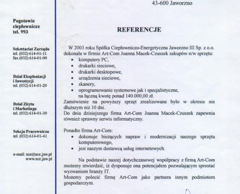Referencje od Spółki Ciepłowniczo-Energetycznej Jaworzno III Sp. z o.o.