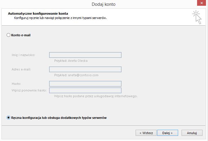 163a6341a18897 W wyświetlonym oknie wybieramy opcję Ręczna konfiguracja lub obsługa  dodatkowych typów serwerów. u3
