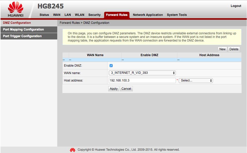 DMZ - przekierowanie wszystkich portów na jeden adres IP